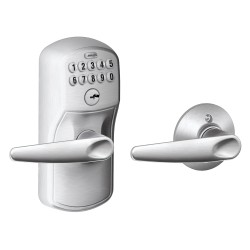 Schlage FE575 Plymouth Keypad Entry Auto-Lock with Jazz Lever Satin Chrome