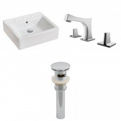 American Imaginations AI-15446 Rectangle Vessel Set In White Color With 8-in. o.c. CUPC Faucet And Drain