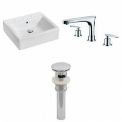 American Imaginations AI-15448 Rectangle Vessel Set In White Color With 8-in. o.c. CUPC Faucet And Drain