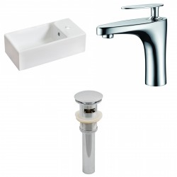 American Imaginations AI-15461 Rectangle Vessel Set In White Color With Single Hole CUPC Faucet And Drain