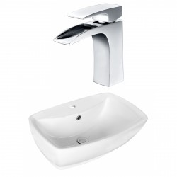 American Imaginations AI-17727 Rectangle Vessel Set In White Color With Single Hole CUPC Faucet
