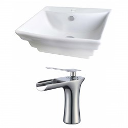American Imaginations AI-17799 Rectangle Vessel Set In White Color With Single Hole CUPC Faucet