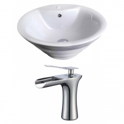 American Imaginations AI-17801 Round Vessel Set In White Color With Single Hole CUPC Faucet