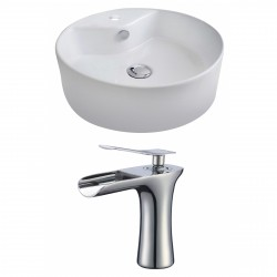 American Imaginations AI-17811 Round Vessel Set In White Color With Single Hole CUPC Faucet