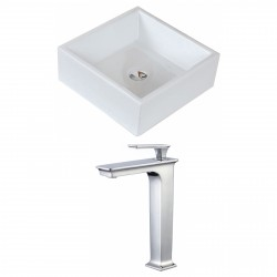 American Imaginations AI-17814 Square Vessel Set In White Color With Deck Mount CUPC Faucet