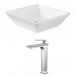 American Imaginations AI-17820 Square Vessel Set In White Color With Deck Mount CUPC Faucet