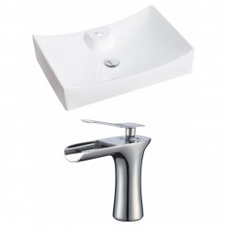 American Imaginations AI-17821 Rectangle Vessel Set In White Color With Single Hole CUPC Faucet