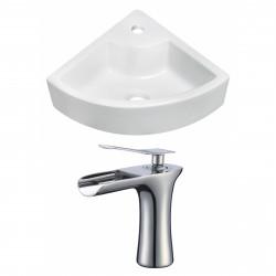 American Imaginations AI-17827 Unique Vessel Set In White Color With Single Hole CUPC Faucet