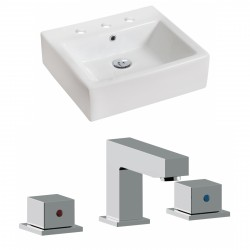 American Imaginations AI-17829 Rectangle Vessel Set In White Color With 8-in. o.c. CUPC Faucet