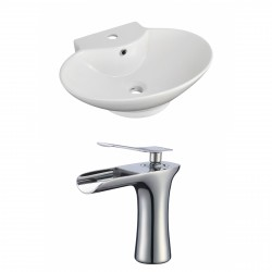American Imaginations AI-17833 Oval Vessel Set In White Color With Single Hole CUPC Faucet