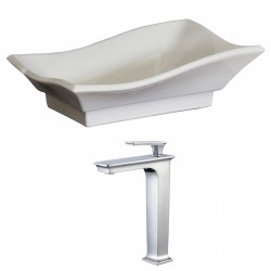 American Imaginations AI-17836 Unique Vessel Set In White Color With Deck Mount CUPC Faucet
