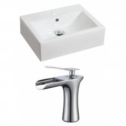 American Imaginations AI-17837 Rectangle Vessel Set In White Color With Single Hole CUPC Faucet