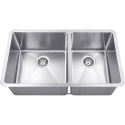 Hardware Resources HMS260L Stainless Steel (16 Gauge) Fabricated Kitchen Sink with Two Unequal Bowls