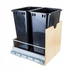"""Hardware Resources Preassembled 50 Quart Double Pullout Waste Container System Featuring 21"""" Undermount System"""