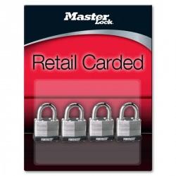 "Master Lock 1803Q Fortress Series Laminated Steel Pin Tumbler Padlock, 1-1/2"" (38mm) 4-pack"