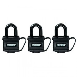 Master Lock 1804TRI  Fortress Series Covered Laminated Steel Padlock 3-pack