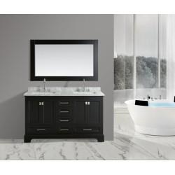 "OMEGA 61"" Double Sink Vanity Set in Espresso"