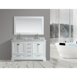 "OMEGA 61"" Double Sink Vanity Set in White"