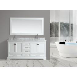 "OMEGA 72"" Double Sink Vanity Set in White"
