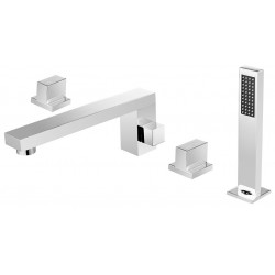 Dyconn BTF51-CHR Signature Series Catalan 4 Hole Roman Tub Filler Deck Mount with Matching Hand Shower For Tub & Jacuzzi
