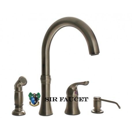 Sir Faucet 710 Wide Spread Kitchen Faucet w / Soap Dispenser and Spray