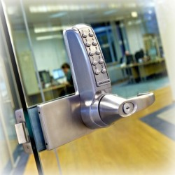 """Codelocks CL4000GD Electronic Push Button Medium Duty Lock for Glass Door, For Door Thickness-5/16"""" - 5/8"""", Finish-Brushed Steel"""