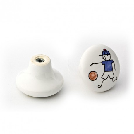 Capitol Cabinet Hardware Ceramic Cabinet Knob Pull with Painted Playing Boy