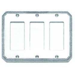 Omnia 8005-T Beaded Switchplate - Triple Rocker Cutout