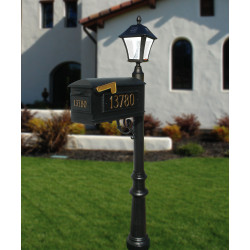 QualArc LMC Lewiston Mailbox, Post, 3 Cast Plates & Bayview Solar Lamp