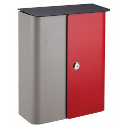 QualArc WF-1515 Winfield Vista Locking Mailbox, Gray / Red with Black Metal Lid