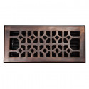 "Copper Factory CF140 Solid Cast Copper Decorative 4""x10"" Floor Register With Damper"