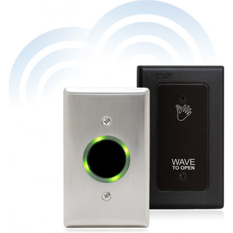 Camden CM-332 Battery Powered Wireless Active Infrared Hands-Free Switch with Stainless Steel Faceplate