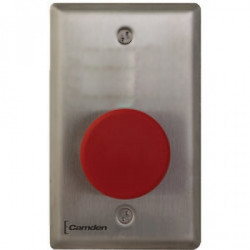 Camden CM-450R Single Gang, Maintained, Mushroom Push Button w/ Stainless Steel Faceplate