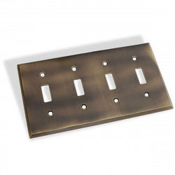Colonial Bronze 6008-4T Quad Toggle Square Bevel Switch Plate