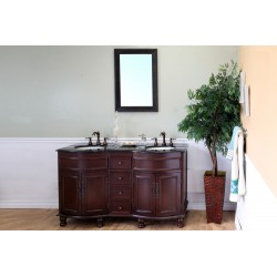 "Bellaterra 603316 62 In Double Sink Vanity-Wood-Walnut-Travertine - 62x22x36"""