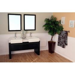"Bellaterra 804375 57.75  In Double Sink Vanity-Wood-Black  - 57.75x20x33.5"""