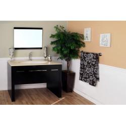 "Bellaterra 804380 55.3 In Single Sink Vanity-Dark Walnut-Cream Marble - 55.3x23.6x36"""