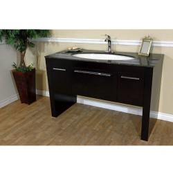"""Bellaterra 804380 55.3 In Single Sink Vanity-Dark Walnut-Tan Brown Marble - 55.3x23.6x36"""""""