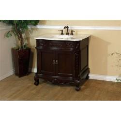 "Bellaterra 202016A 34.6 In. Single Sink Vanity-Wood-Walnut-Carrara White Marble - 34.6x23.6x36"""