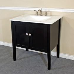 "Bellaterra 203054 33.5 In Single Sink Vanity-Wood-Espresso-White Phoenix Top - 33.5x21.5x36"""