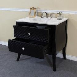 "Bellaterra 203057B 35.4 In Single Sink Vanity-Wood-Black-White Phoenix Stone Top With Rectanglar Sink - 35.4x22x36"""
