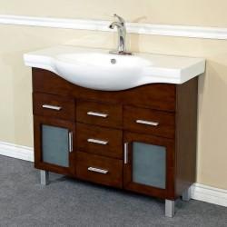 "Bellaterra 203139B 39.8 In Single Sink Vanity-Wood-Walnut-4 Drawers - 39.8x18.5x34.8"""