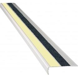 "American Permalight 83-40447L 2-5/8"" x 48"" Extruded 90deg. Angled Aluminum Stair Nosing - Photoluminescent"