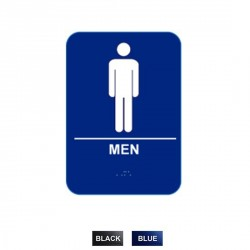 """Cal-Royal M-68 Men with Braille Pictogram Text 6"""" x 8"""" Sign"""