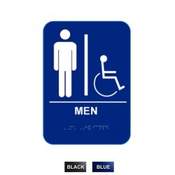 """Cal-Royal MH-68 Men Handicap with Braille Pictogram Text 6"""" x 8"""" Sign"""