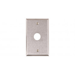 "Alarm Controls RP Single Gang, Stainless Steel Wall Plate, 3/4"" Hole for PA-100 or PA-300 Piezo Sounders"