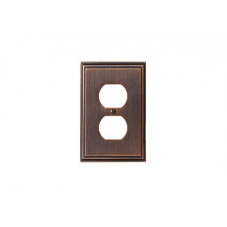 Amerock BP36522 Mulholland 2 Plug Outlet Wall Plate, Oil-Rubbed Bronze Mulholland