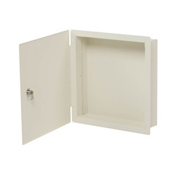 "Deltrex FMC1 14-3/8"" x 14-3/8"" x 3-1/2"" Yoke-White Steel Flush-Mount Cabinet"