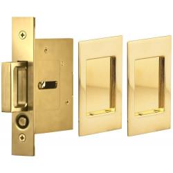 Omnia 7036/N Passage Pocket Door Lock w/ Modern Rectangular Trim featuring Mortise Edge Pull