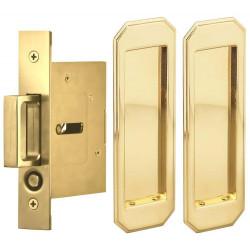 Omnia 7039/N Passage Pocket Door Lock w/ Traditional Rectangular Trim featuring Mortise Edge Pull